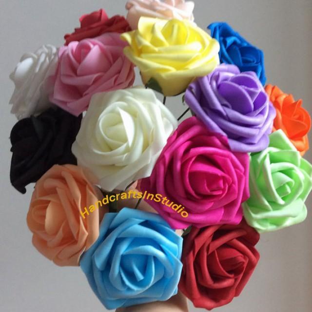 "wedding photo - Various Colors 100 pcs 3"" Fake Flowers Real Like Wedding Flowers For Centerpieces Bridal Bouquet Floral Wedding Decor Decorative Flowers"