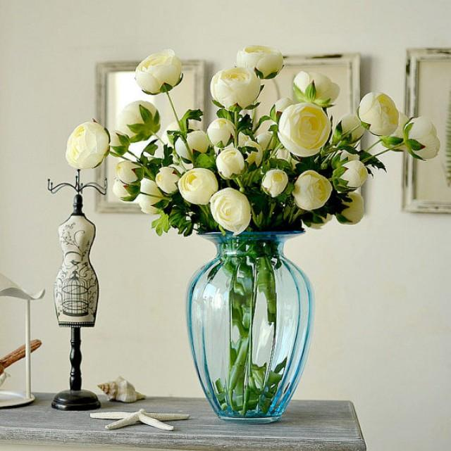 wedding photo - 60cm 3 Heads Single Silk Peony Posy Cream White Peonies For Wedding Table Centerpieces Bridal Bouquet Flowers
