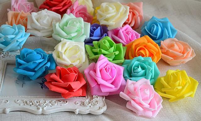 wedding photo - 10 Heads Soft Foam Rose Artificial Flower Heads 6-7cm For DIY Crafts Wedding Decoration Kissing Ball
