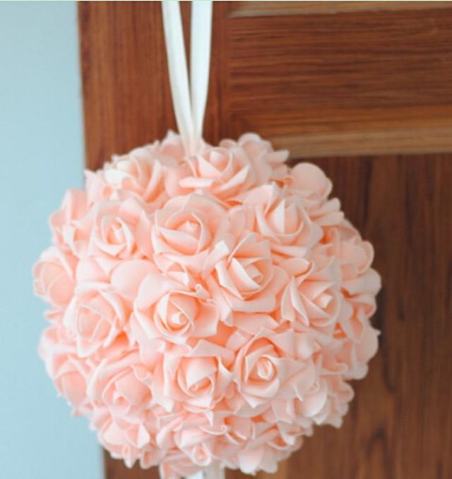 "wedding photo - 9"" Blush Rose Kissing Ball Foam Flowers Pomanders For Wedding Centerpieces Decor Bridal Shower"
