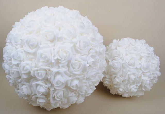 "wedding photo - 9"" Wedding Ceremony Decorations Foam Roses Kissing Ball Pomanders Crystal Flower Balls For Wedding"