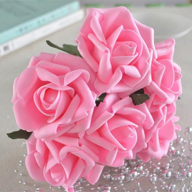 wedding photo - 72 pcs Bright Warm Pink Artificial Flower Supplies Fake Foam Roses Wedding Flowers For Wedding Centerpiece Decor