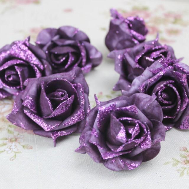 wedding photo - 100pcs Purple Foam Flower Heads Glitter Rose Heads For DIY Hair Clips Wedding Cake Decor
