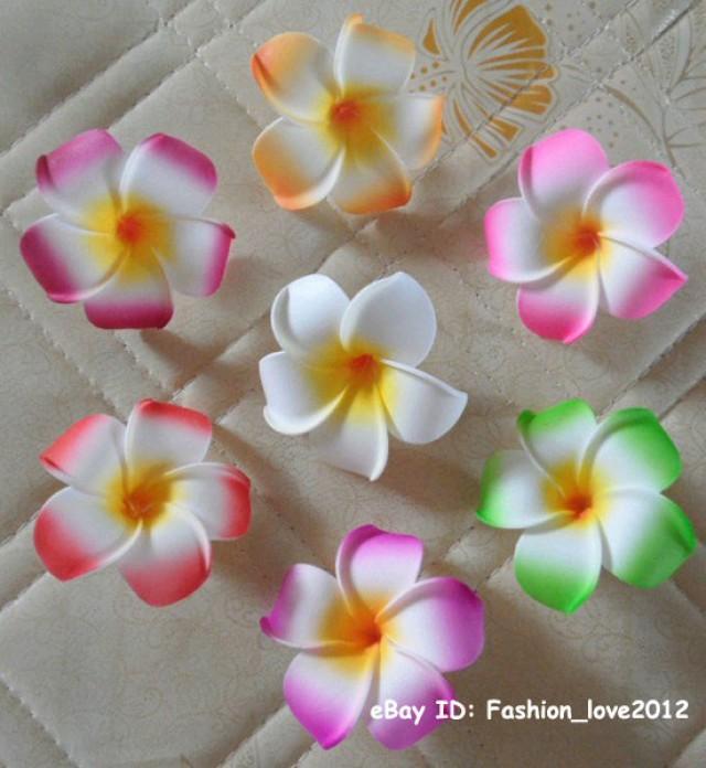 wedding photo - 10pcs Dia 9cm Hawaiian Foam flowers Frangipani Plumeria Hawaiian Flowers For Hair Clips Beach Wedding Decor
