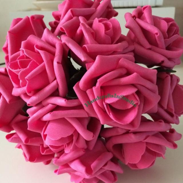 wedding photo - 72 pcs Hot Pink Bridal Bouquet Flowers Wedding Decorative Artificial Flower Fake Latex Roses Floral Wedding Centerpiece
