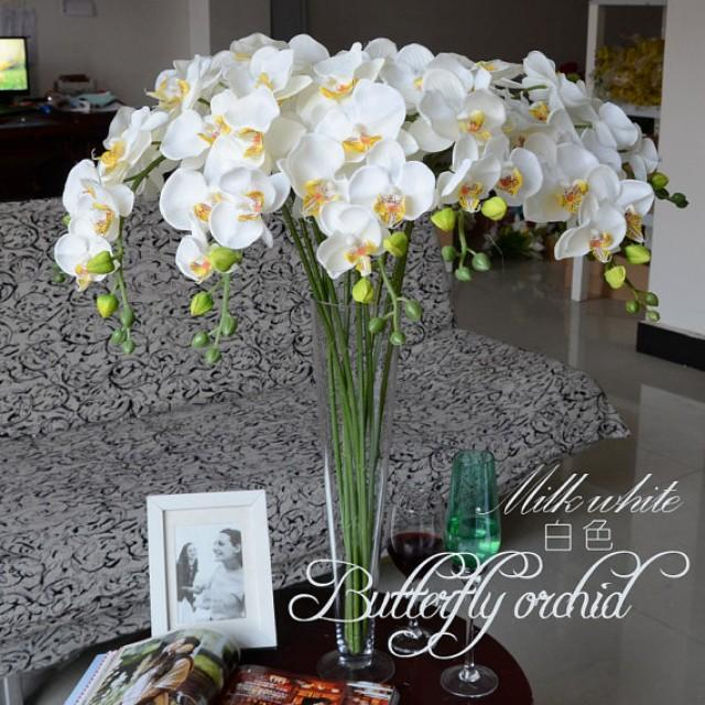wedding photo - 5pcs White Orchids Artificial Flowers For Wedding Table Centerpieces Table Garland Flowers Butterfly Orchid Phalaenopsis