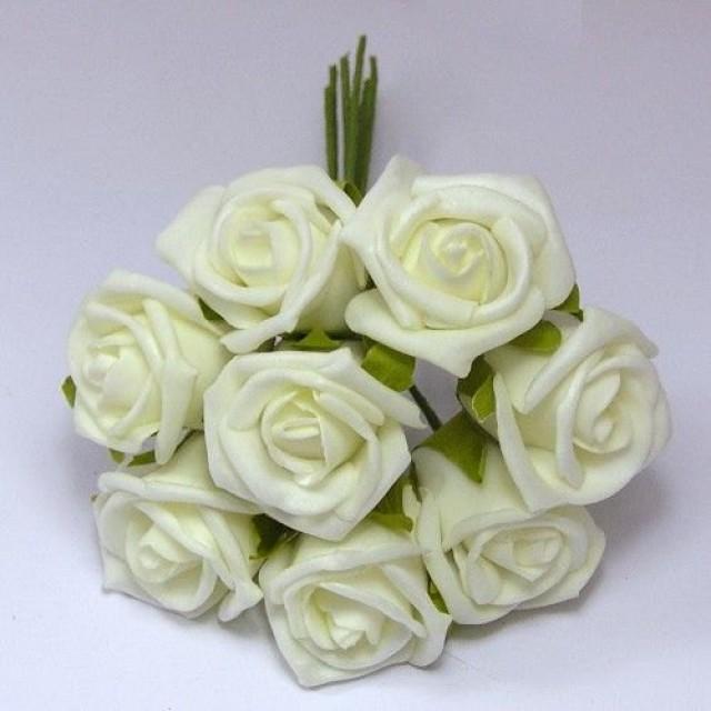 wedding photo - 100 pcs Ivory Wedding Artificial Flower Fake Foam Roses Floral Wedding Table Centerpiece Decor Supplies