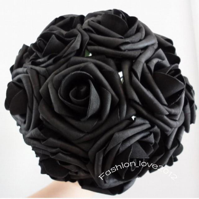 wedding photo - 50 pcs Black Wedding Flowers Artificial Flower Supplies Fake Black Foam Roses Floral Wedding Table Centerpiece Decor