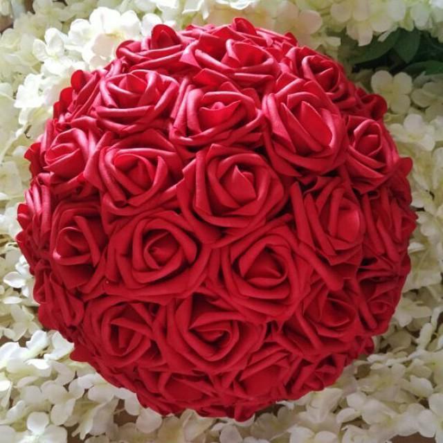 "wedding photo - 12"" Red Kissing Balls Pomanders Red Foam Rose Flower Balls For Wedding Centerpieces Decor"