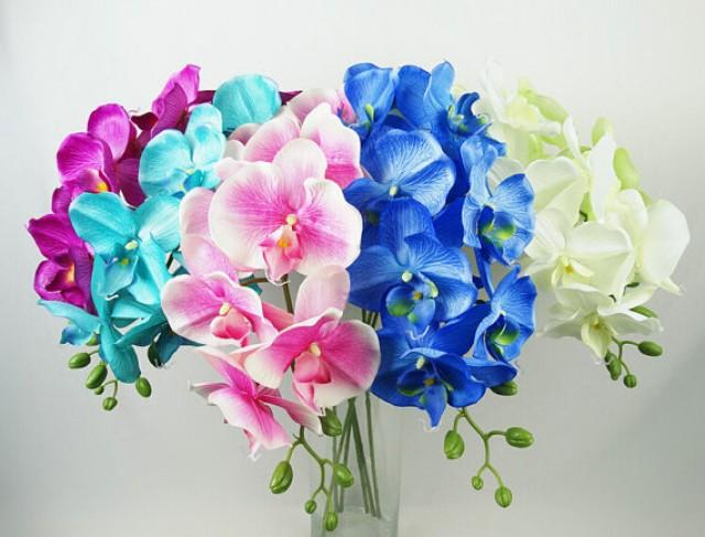 wedding photo - 5 pcs Life Size Phalaenopsis Silk Orchids For Wedding Table Centerpieces Home Decor Butterfly Orchid Flowers