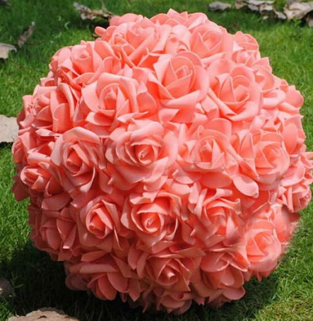 """wedding photo - 9"""" Coral Kissing Ball Rose Pomanders For Wedding Centerpieces Bridal Shower Coral Wedding Decorations"""