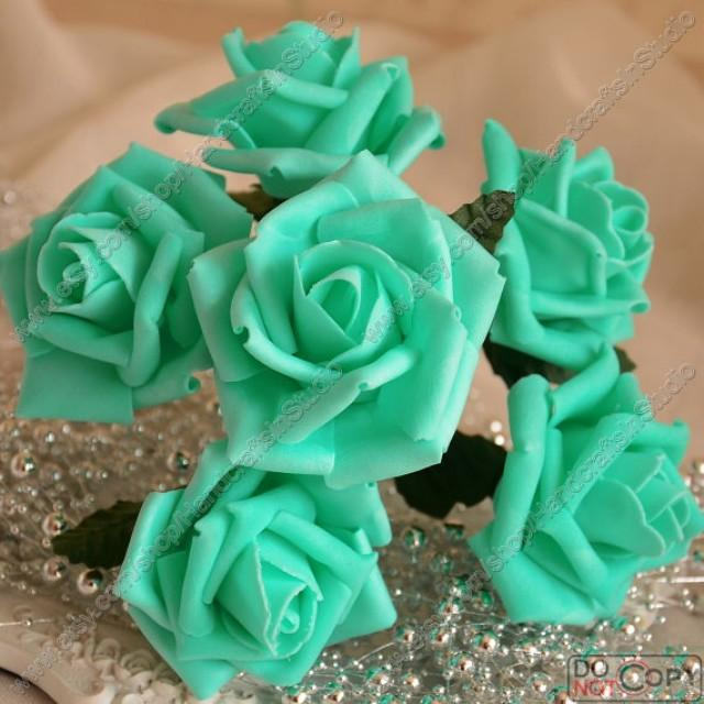 wedding photo - 72 pcs Tiffany Blue Wedding Flowers  Artificial Flower Fake Roses For Bridal Bouquet Wedding Table Centerpieces