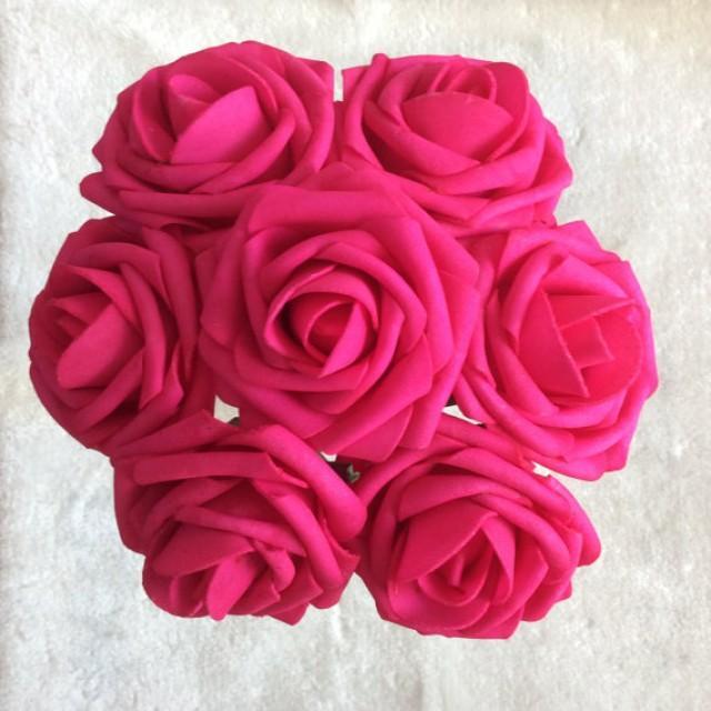 wedding photo - 100pcs Hot Pink Wedding Flowers Fuschia Roses For Bridal Bridesmaids Bouquets Wedding Party Decor Table Centerpiece