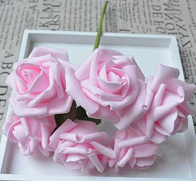 wedding photo - 72 pcs Baby Pink Flowers Artificial Wedding Floral Decor Foam Roses Light Pink Wedding Flowers For Table Centerpiece