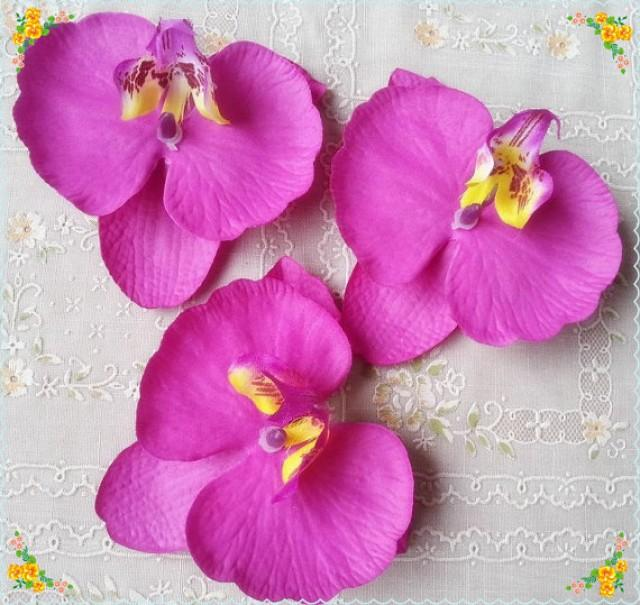 wedding photo - 30pcs 9*10cm Radiant Purple Orchids Silk Phalaenopsis Artificial Silk Orchid Flower Heads Fabric Silk Flowers Hair Clips DIY Crafts