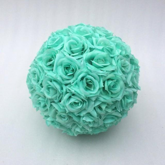 wedding photo - 100pcs Light Teal Green Silk Roses Flowers Fake Roses For Pomander Kissing Balls Floral Wedding Decor