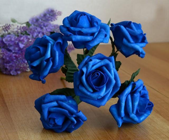 wedding photo - 12 Bunches Royal Blue Artificial Flowers Foam Roses For Brides Bridesmaids Bouquet Wedding Decorations