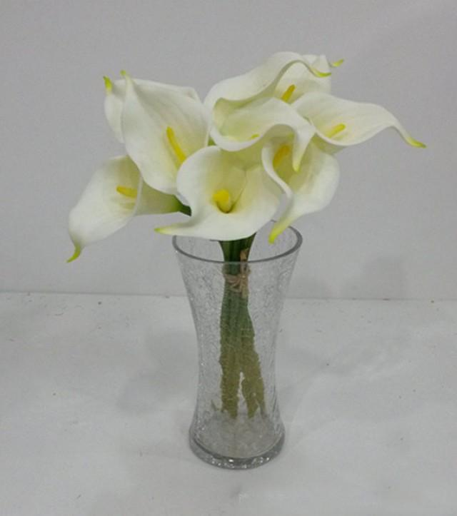 wedding photo - 9pcs Cream White Calla Lilies Real Touch Flowers Natural Calla Lily Bouquet For Wedding Decor Center Pieces