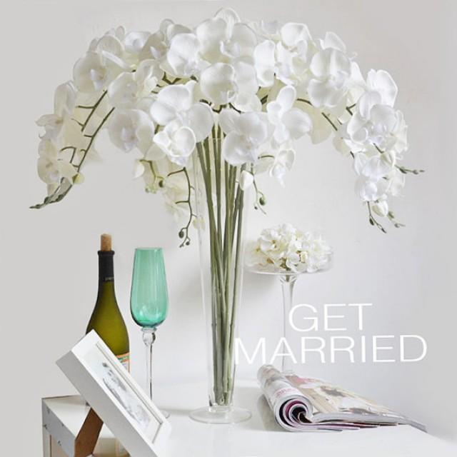 wedding photo - 5 pcs Cream White Silk Orchids UK Customized Butterfly Artificial Orchid Phalaenopsis Flowers For Wedding Centerpieces