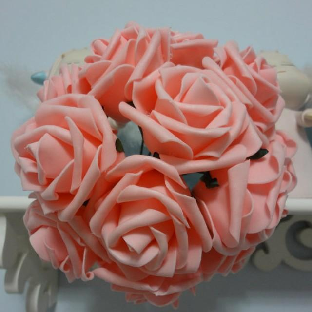 wedding photo - 100pcs Peach Pink Wedding Flowers Fake Roses Dia 8cm For Table Centerpieces Wedding Bridal Bouquet Decorations
