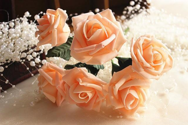 Pcs champagne artificial flowers foam roses for table