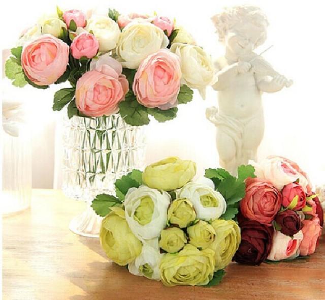wedding photo - Set Of 5 Peony Bouquet Artificial Silk Peonies For Brides Bridesmaids Bridal Bouquet Width22cm
