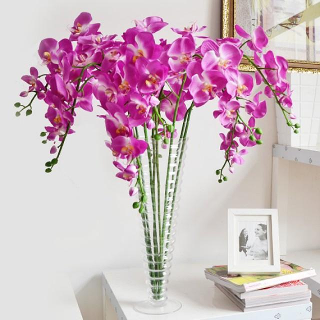 Orchid Flower Arrangements For Weddings: 5 Pcs Purple Orchids Artificial Flowers Wedding Dinner