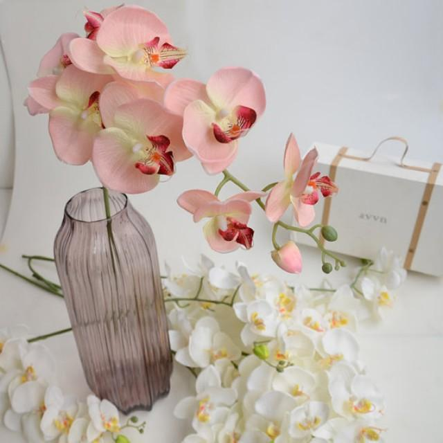 wedding photo - 5 pcs Artificial Orchids Wedding Light Pink Table Centerpieces Head Dia 9*10cm Butterfly Orchid Phalaenopsis Flower Home Decor
