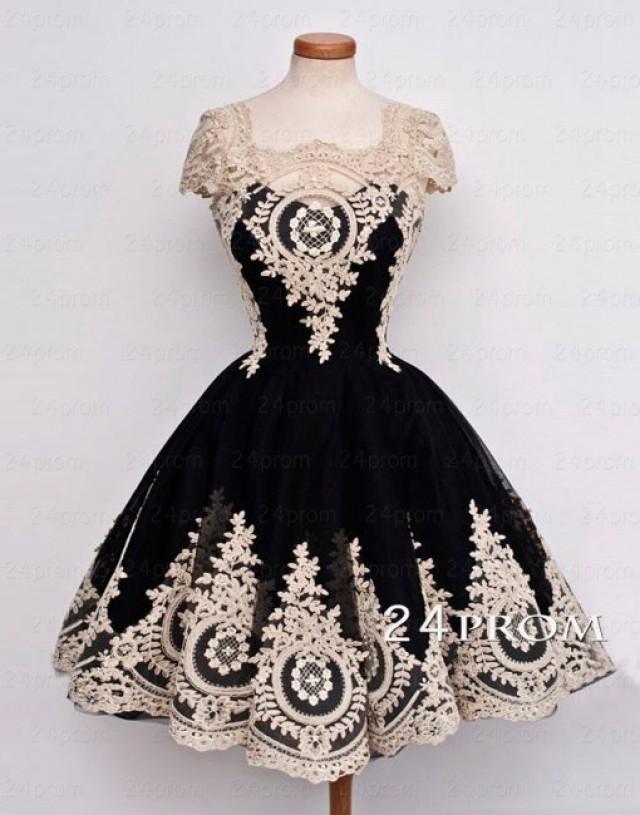 wedding photo - Black Tulle Lace Short Prom Dress,Homecoming Dress - 24prom