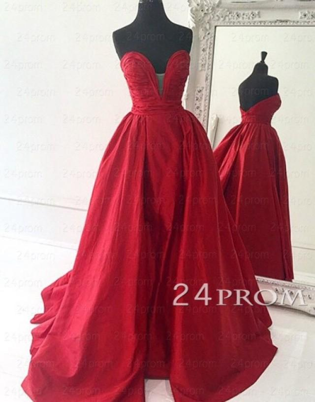 wedding photo - Custom Made Red Sweetheart Long Prom Gown,Prom Dress - 24prom