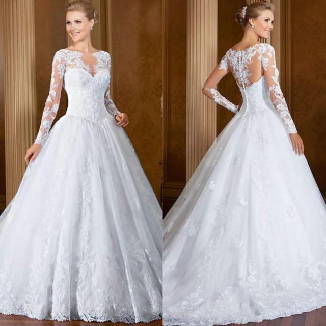 Vintage white long sleeve lace wedding dresses sheer scoop for Vintage wedding dresses online shop