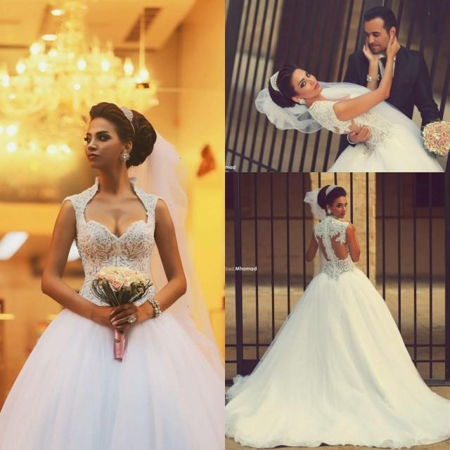 Wedding Gowns For 2015: 2016 New Plus Size Ball Gown Lace Wedding Dresses 2015