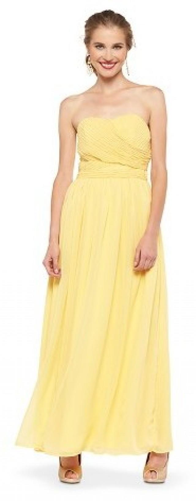 Tevolio women 39 s chiffon strapless maxi bridesmaid dress for Yellow maxi dress for wedding
