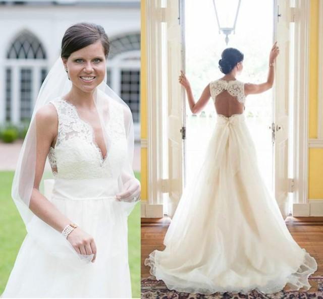 Elegant A Line Garden Wedding Dresses 2015 V Neck Organza Sleeveless With Lac