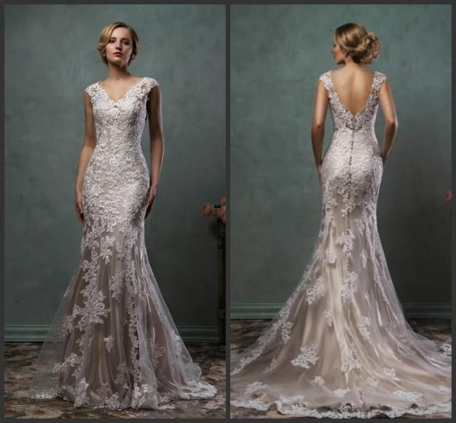 New Arrival 2016 Mermaid Wedding Dresses Color V Neck Applique Amelia Sposa Sheer Lace Bridal