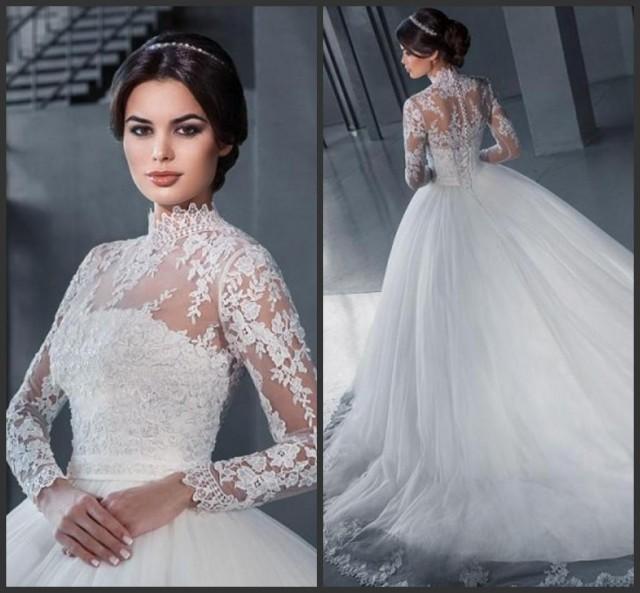 Simple A Line Long Sleeve Wedding Dress Elegant 2016: Elegant High Neck Wedding Dresses With Wrap A-Line 2016