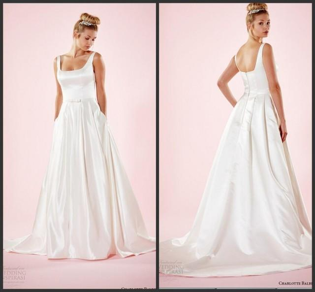 Simple style wedding dresses square neckline satin for Cheap simple plus size wedding dresses
