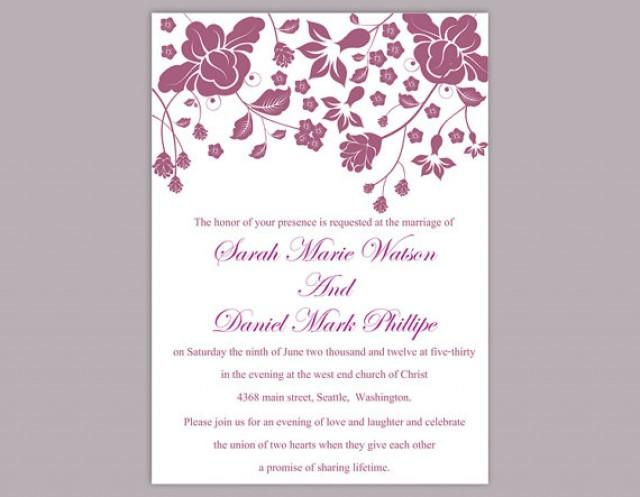Wedding Invitations Template Word: DIY Wedding Invitation Template Editable Word File Instant