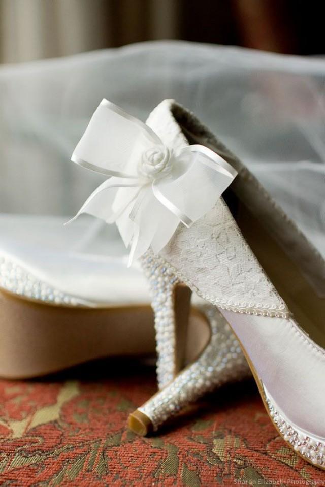 Custom Wedding Shoes White Platform Heels With Lace Overlay White Bow And Swarovski
