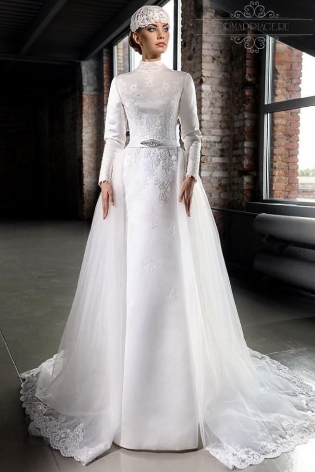 Stunning muslim 2015 winter wedding dresses with long for White dress for winter wedding