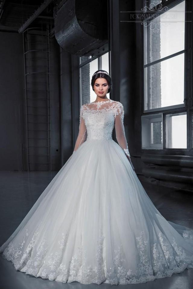 Vintage Winter Wedding Dresses 2016 Long Sleeve Lace Applique Vestidos De Noiva Tulle Bridal