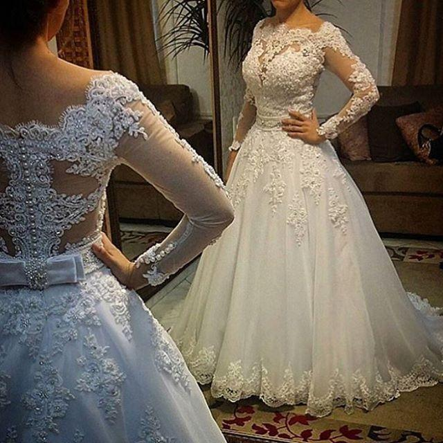 Real picture vestido de noiva wedding dresses ball gown for Lace wedding dress with pearls