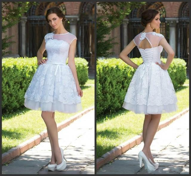 2015 A Line Short Wedding Dresses Sheer Jewel Neck Lace Styles Sleeveless Lace Up Back Summer