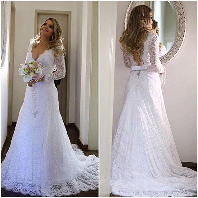 V Neck Lace Wedding Dresses: Vestido De Novia Sheer Long Sleeve Wedding Dresses
