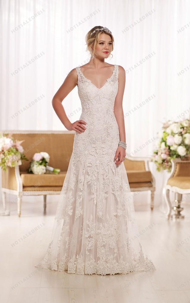 Essense of australia lace a line wedding dress style d1771 A line lace wedding dress australia