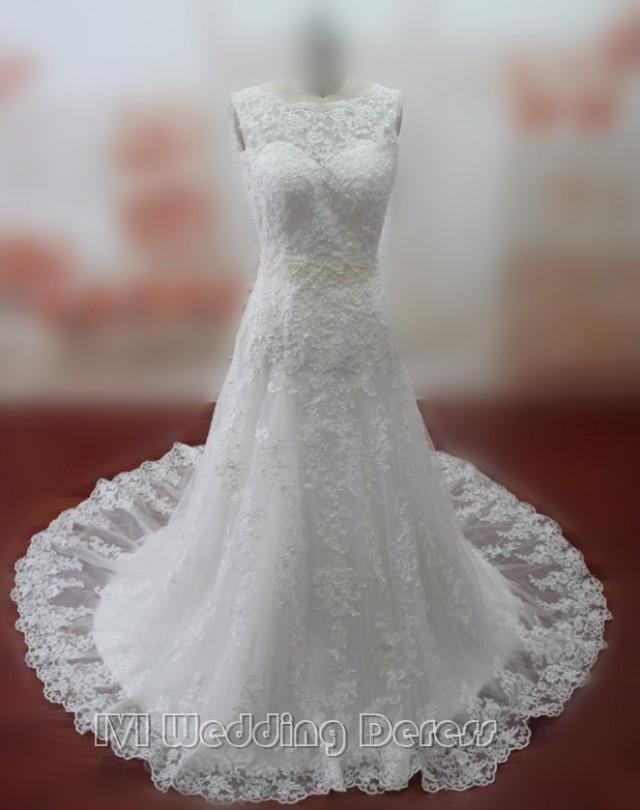 wedding photo - Real Pictures Empire Lace Wedding Dresses Lace-up Wedding Gowns Jewel Neckline Bridal Gowns Plus Size Bridal Dress