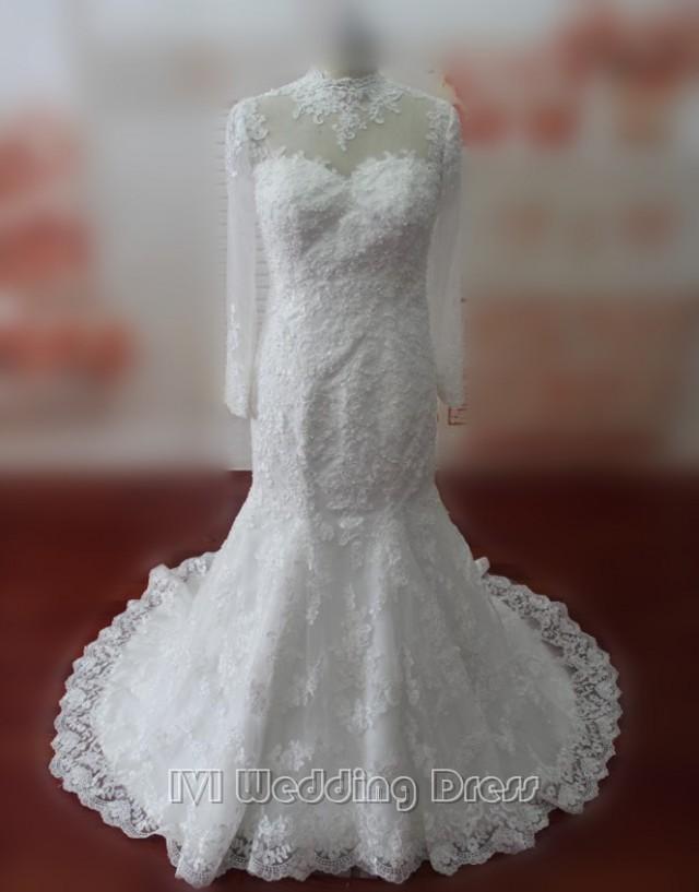 wedding photo - Muslim Wedding Dresses Chapel Train Mermaid Wedding Gowns Long Sleeves Bridal Gowns Plus Size Bridal Dress