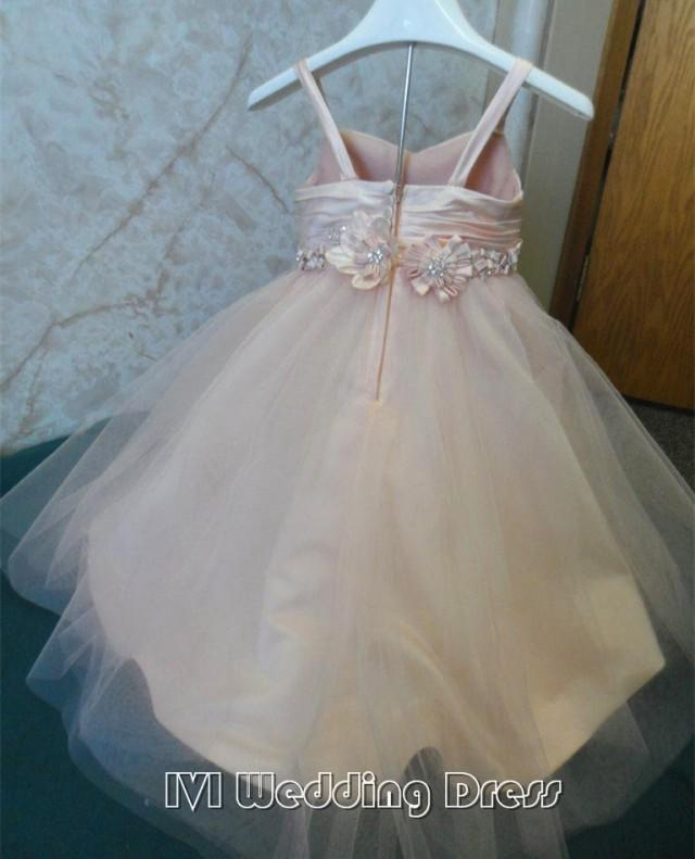 wedding photo - Real Pictures Flower Girl Dress with Hand Made Flower Petals Are Adorned with Rhinestones Miniature WeddingGown