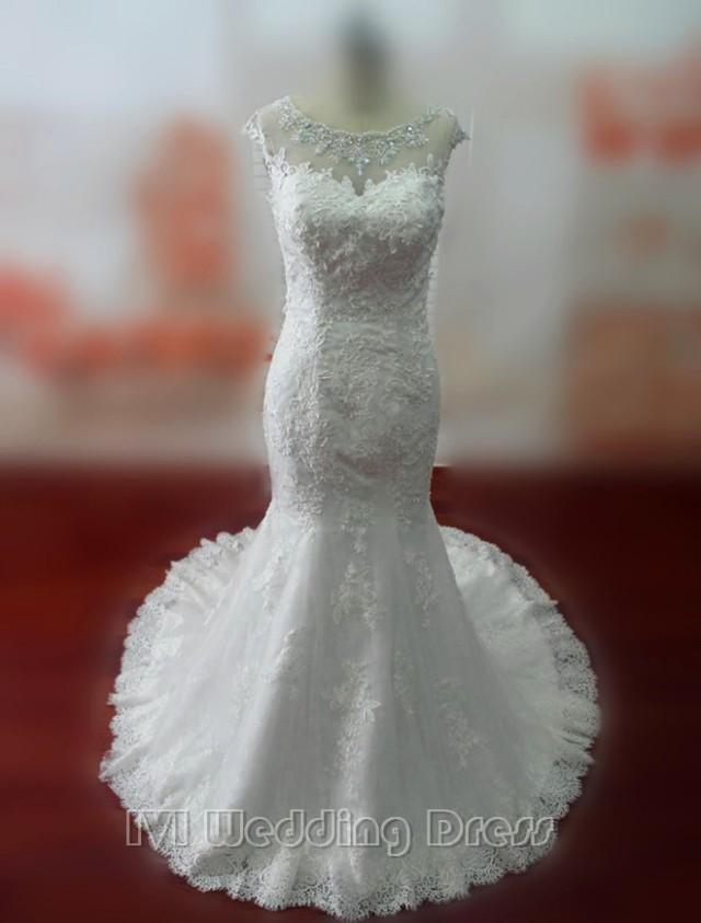wedding photo - Real Samples Beaded Scoop Neckline Mermaid Lace Wedding Dress Bridal Gown Vestido De Noiva