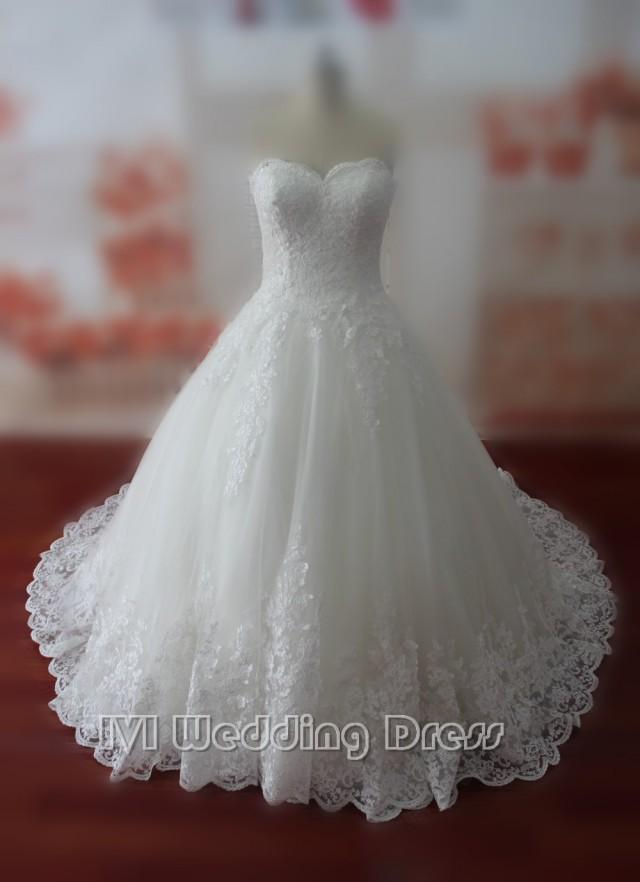 wedding photo - Real Samples Lace Wedding Dresses Sweetheart Bridal Gowns Custom Made Wedding Gown Vestido De Noiva